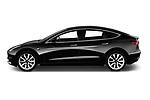 Car driver side profile view of a 2019 Tesla Model-3 Performance 4 Door Sedan