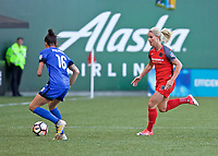 Portland, OR - Saturday May 06, 2017: Carson Pickett, Amandine Henry during a regular season National Women's Soccer League (NWSL) match between the Portland Thorns FC and the Chicago Red Stars at Providence Park.