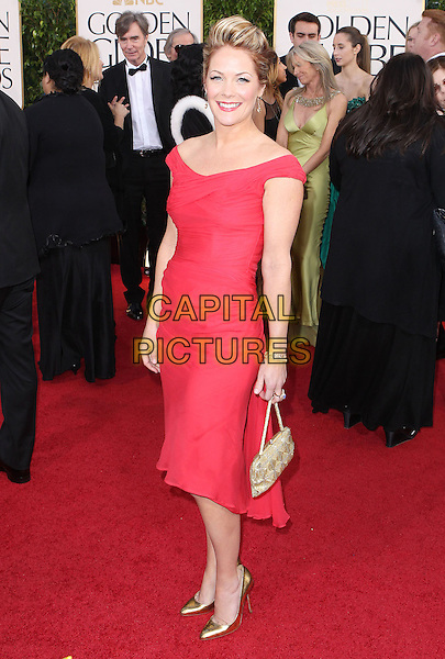 Andrea Anders.70th Annual Golden Globe Awards held at the Beverly Hilton Hotel, Hollywood, California, USA..January 13th, 2013.globes full length dress red gold bag purse shoes.CAP/ADM/SLP/COL.©Collin/Starlitepics/AdMedia/Capital Pictures.