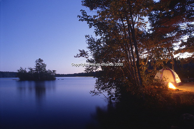 Waterfront tentsite at dusk, Lovell, Oxford County, Maine, USA