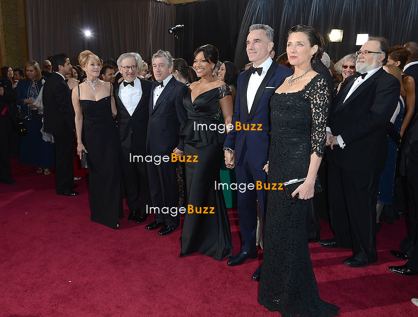 Kate Capshaw, Steven Spielberg, Robert De Niro, Grace Hightower, Daniel Day-Lewis and Rebecca Miller  arriving for the 85th Academy Awards at the Dolby Theatre, Los Angeles.