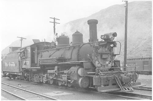 3/4 view of K-27 #453 at Durango.<br /> D&amp;RGW  Durango, CO