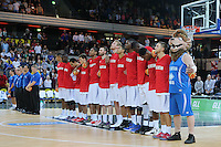 The GB Players line up for the National Anthem during the EuroBasket 2015 2nd Qualifying Round Great Britain v Bosnia & Herzegovina (Euro Basket 2nd Qualifying Round) at Copper Box Arena in London. - 13/08/2014