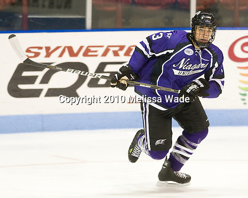 Jason Beattie (Niagara - 3) - The visiting Niagara University Purple Eagles defeated the Northeastern University Huskies 4-1 on Friday, November 5, 2010, at Matthews Arena in Boston, Massachusetts.