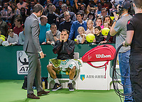Rotterdam, The Netherlands, 18 Februari, 2018, ABNAMRO World Tennis Tournament, Ahoy, Singles final, Roger Federer (SUI) is congratulated by tournament director Richard Krajicek<br /> Photo: www.tennisimages.com/henkkoster