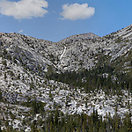"""""""Horsetail Falls"""" square Twin Bridges, California.  Located just outside South Lake Tahoe above Strawberry and just across from Lovers Leap rock climbing crag on Highway 50. You can hike right next to the waterfall all the way to the top but be careful the hike can be dangerous. Horsetail is one way to enter the spectacular Desolation Wilderness."""