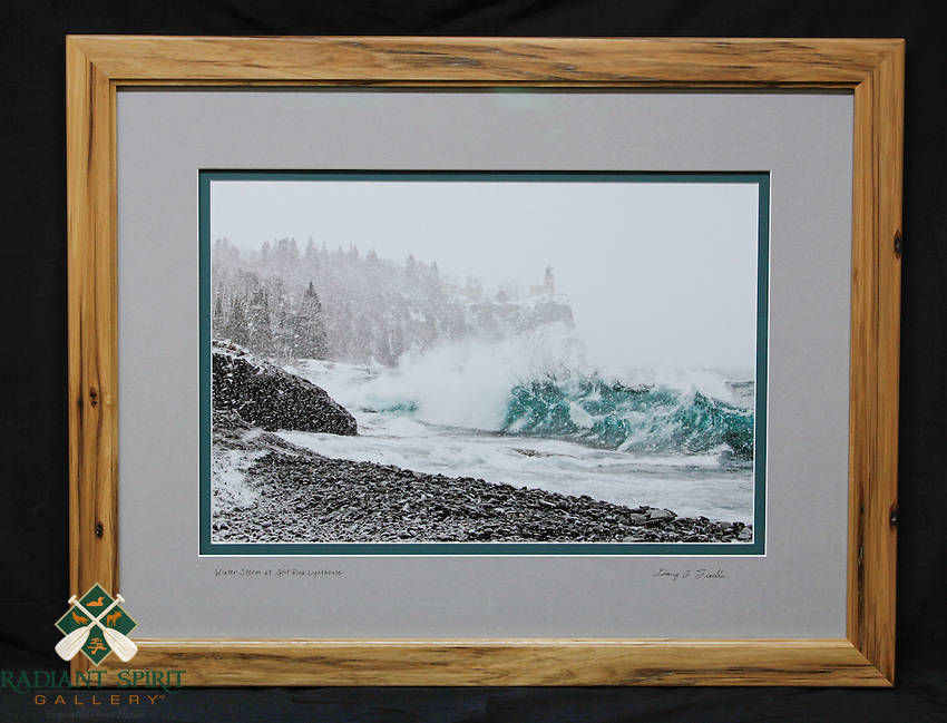 """Winter Storm at Split Rock Lighthouse"", hand-made hickory frame, conservation grade matting, TruVue Museum Glass. Contact us for availability."