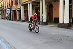 Tom Dumoulin (NED) Team Sunweb heads out for a practice run before Stage 1 of the 2019 Giro d'Italia, an individual time trial running 8km from Bologna to the Sanctuary of San Luca, Bologna, Italy. 11th May 2019.<br /> Picture: Eoin Clarke | Cyclefile<br /> <br /> All photos usage must carry mandatory copyright credit (© Cyclefile | Eoin Clarke)