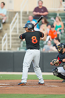 Yermin Mercedes (8) of the Delmarva Shorebirds at bat against the Kannapolis Intimidators at CMC-Northeast Stadium on June 6, 2015 in Kannapolis, North Carolina.  The Shorebirds defeated the Intimidators 7-2.  (Brian Westerholt/Four Seam Images)