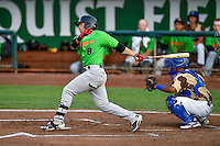 Brady Conlan (8) of the Great Falls Voyagers follows through on his swing against the Ogden Raptors during the Pioneer League game at Lindquist Field on August 18, 2016 in Ogden, Utah. Ogden defeated Great Falls 10-6. (Stephen Smith/Four Seam Images)