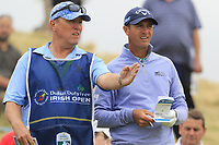 Nicolas Colsaerts (BEL) and caddy Brian on the 8th tee during Saturday's Round 3 of the 2018 Dubai Duty Free Irish Open, held at Ballyliffin Golf Club, Ireland. 7th July 2018.<br /> Picture: Eoin Clarke | Golffile<br /> <br /> <br /> All photos usage must carry mandatory copyright credit (&copy; Golffile | Eoin Clarke)