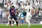 Real Madrid CF's Thibaut Courtois, Toni Kroos and FC Barcelona's Luis Suarez during La Liga match. March 02,2019. (ALTERPHOTOS/Alconada)