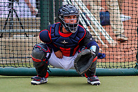 Cedar Rapids Kernels catcher Ben Rortvedt (4) warms up in the bullpen prior to a Midwest League game against the Kane County Cougars on April 21, 2018 at Perfect Game Field at Veterans Memorial Stadium in Cedar Rapids, Iowa. Kane County defeated Cedar Rapids 9-2. (Brad Krause/Four Seam Images)