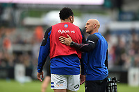 Anthony Perenise and Matt Pickard of Bath Rugby. Gallagher Premiership match, between Leicester Tigers and Bath Rugby on May 18, 2019 at Welford Road in Leicester, England. Photo by: Patrick Khachfe / Onside Images
