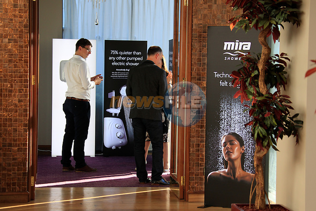 during the Mira Elite Shower product launch in the Mansion House, Dublin Ireland.<br /> Picture Fran Caffrey /Newsfile.ie<br /> <br /> <br /> Founded in 1921, Mira is the UK&rsquo;s leading manufacturer of mixer, electric, power and digital showers.  The entire range of showers and accessories, such as taps and shower trays, use stylish design and innovative technology to deliver a high performance showering experience in every price range.  Mira is owned by leading American bathroom manufacturer Kohler Co. Mira shower products are available in retailers nationwide, including B&amp;Q, and can be found in one in four homes in the UK.<br /> <br /> Mira Showers have now proved they are better by design by winning a Red Dot Award with the high design quality of the Fluency tap. The panel of international experts discussed and evaluated 4,815 entries from 53 countries, but only designs with quality and innovative strength won an award. <br /> <br /> Mira Showers is celebrating the launch in Ireland with the introduction of the Mira Elite to the market. 75% quieter than any other pumped electric shower, the Mira Elite is the perfect solution for any low pressure water systems.<br /> <br /> The Mira Elite has been acoustically engineered to make it the quietest electric shower around and with an integrated pump, this shower will always guarantee a strong and consistent water flow. Conveniently designed, the filter is easily accessible allowing it to be straightforwardly cleaned and the four spray showerhead with rub-clean nozzles, allows your shower to maintain its performance.