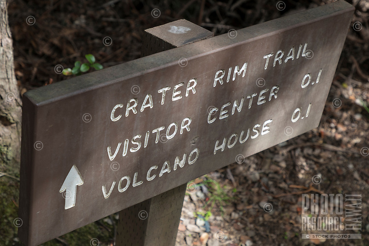 """Crater Rim Trail"" sign at Hawai'i Volcanoes National Park, Big Island."