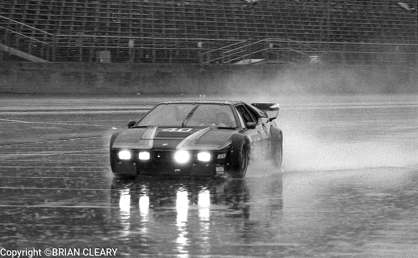 The #40 BMW M1 of Uli Bieri, Matt Gysler, and Duff Hubbard enters the pits in the rain during the 1983 24 Hours of Daytona , Daytona Internationa Speedway, Daytona Beach, FL, February 1-2, 1983.  (Photo by Brian Cleary / www.bcpix.com)