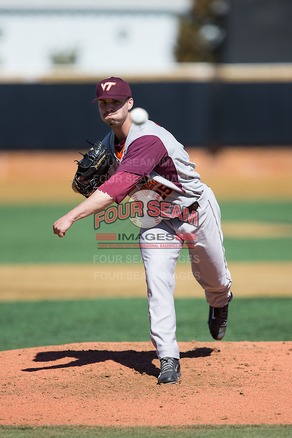 Virginia Tech Hokies starting pitcher Nick Anderson (26) of the Virginia Tech Hokies in action against the Wake Forest Demon Deacons at Wake Forest Baseball Park on March 7, 2015 in Winston-Salem, North Carolina.  The Hokies defeated the Demon Deacons 12-7 in game one of a double-header.   (Brian Westerholt/Four Seam Images)