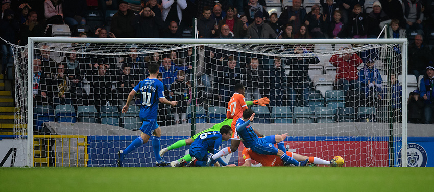 Rochdale's Ollie Rathbone, right, scores the opening goal <br /> <br /> Photographer Chris Vaughan/CameraSport<br /> <br /> The EFL Sky Bet League One - Rochdale v Blackpool - Wednesday 26th December 2018 - Spotland Stadium - Rochdale<br /> <br /> World Copyright © 2018 CameraSport. All rights reserved. 43 Linden Ave. Countesthorpe. Leicester. England. LE8 5PG - Tel: +44 (0) 116 277 4147 - admin@camerasport.com - www.camerasport.com