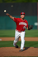 Auburn Doubledays pitcher Sam Johns (28) delivers a pitch during a game against the Batavia Muckdogs on September 7, 2015 at Falcon Park in Auburn, New York.  Auburn defeated Batavia 11-10 in ten innings.  (Mike Janes/Four Seam Images)