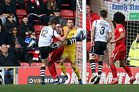Jason Oswell attempt and O's keeper Dean Brill during Leyton Orient vs Wrexham, Vanarama National League Football at The Breyer Group Stadium on 9th March 2019