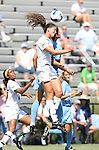 23 September 2007: San Francisco's Fiona O'Sullivan (in white) and North Carolina's Yael Averbuch (behind) challenge for a header. The University of North Carolina Tar Heels defeated the University of San Francisco Dons 2-0 at Koskinen Stadium in Durham, North Carolina in an NCAA Division I Women's Soccer game, and part of the annual Duke Adidas Classic tournament.