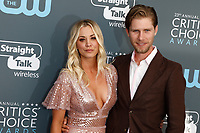 Kaley Cuoco and Karl Cook attend the 23rd Annual Critics' Choice Awards at Barker Hangar in Santa Monica, Los Angeles, USA, on 11 January 2018. Photo: Hubert Boesl - NO WIRE SERVICE - Photo: Hubert Boesl/dpa /MediaPunch ***FOR USA ONLY***