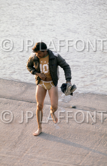January, 1983. Del Rio, Texas. The border patrol watches as many Mexicans made their daily journey accross the Rio Grande River into Del Rio, to work for the day, and return to Mexico the same evening.