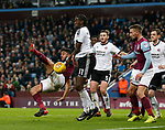 Neil Taylor of Aston Villa challenged by Clayton Donaldson of Sheffield Utd during the Championship match at Villa Park Stadium, Birmingham. Picture date 23rd December 2017. Picture credit should read: Simon Bellis/Sportimage