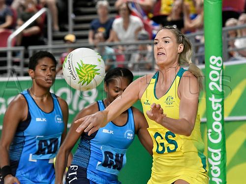 9th April 2018, Gold Coast Convention and Exhibition Centre, Gold Coast, Australia; Commonwealth Games day 5; Netball, Australia versus Fiji; Caitlin Bassett of Australia passes the ball