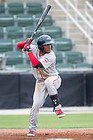 Wendell Rijo (11) of the Greenville Drive at bat against the Kannapolis Intimidators at CMC-Northeast Stadium on April 6, 2014 in Kannapolis, North Carolina.  The Intimidators defeated the Drive 8-5.  (Brian Westerholt/Four Seam Images)