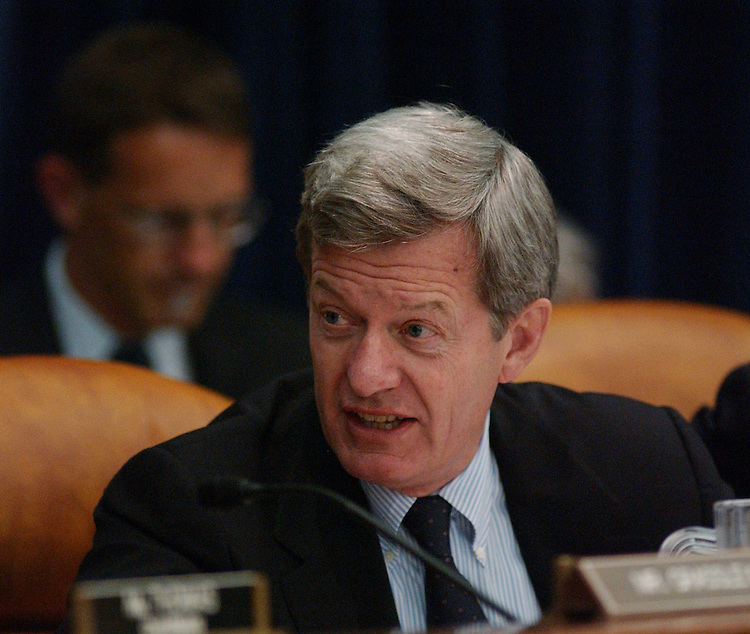 10/05/04.CORPORATE TAX STRUCTURE--Senate Finance ranking Democrat Max Baucus, D-Mont., during the meeting of House and Senate conferees to consider the Jumpstart Our Business Strength (JOBS) Act, which would revise the corporate tax structure. .CONGRESSIONAL QUARTERLY PHOTO BY SCOTT J. FERRELL
