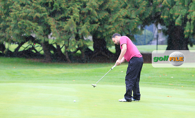 James Quinlivan (Mullingar) on the 18th green during Round 2 of the 104th Irish PGA Championship at Adare Manor Golf Club on Friday 3rd October 2014.<br /> Picture:  Thos Caffrey / www.golffile.ie