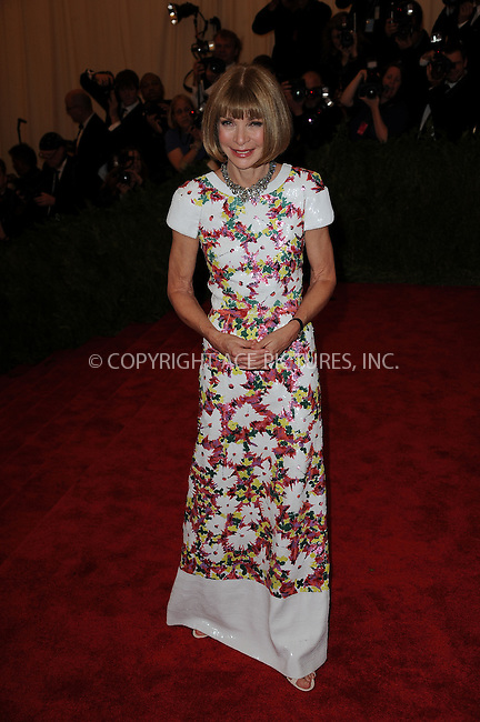 WWW.ACEPIXS.COM....May 6 2013, New York City....Anna Wintour arriving at the Costume Institute Gala for the 'PUNK: Chaos to Couture' exhibition at the Metropolitan Museum of Art on May 6, 2013 in New York City.....By Line: Kristin Callahan/ACE Pictures......ACE Pictures, Inc...tel: 646 769 0430..Email: info@acepixs.com..www.acepixs.com