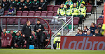 09.05.2018 Hearts v Hibs:  Neil Lennon reacts to some banter from the home fans