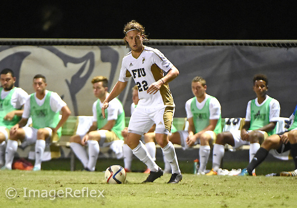 Florida International University men's soccer midfielder Patrick Lopez (22) plays against Marshall University. FIU won the match 5-1 on September 26, 2015 at Miami, Florida.