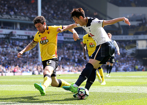 April 8th 2017,White Hart Lane, Tottenham, London, England; EPL Premier league football, Tottenham Hotspur versus Watford; Son Heung-Min of Tottenham Hotspur dribbles past Daryl Janmaat of Watford