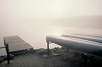 AJ1993, canoe, fog, Maine, Baxter State Park, Dock and canoes in early morning fog on Daicey Pond in Baxter State Park in the fall.