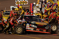 Nov 12, 2005; Phoenix, Ariz, USA;  Nascar Busch Series driver Martin Truex Jr. makes a pit stop during the Arizona 200 at Phoenix International Raceway. Mandatory Credit: Photo By Mark J. Rebilas