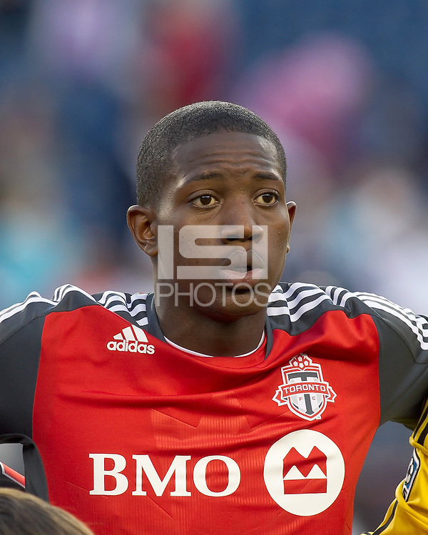 Toronto FC defender Doneil Henry (4). In a Major League Soccer (MLS) match, the New England Revolution tied Toronto FC, 0-0, at Gillette Stadium on June 15, 2011.