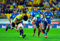 Blues centre Rieko Ioane in action during the Super Rugby match between the Hurricanes and Blues at Sky Stadium in Wellington, New Zealand on Saturday, 7 March 2020. Photo: Dave Lintott / lintottphoto.co.nz