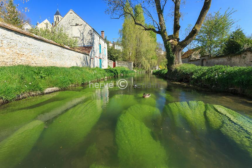 France, Seine-et-Marne (77) , Château-Landon, le Fusain et plus haut, la ville // France, Seine et Marne, Chateau Landon, the Fusain river