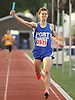 Peter Kirgis of Port Washington reacts after anchoring his boys' 4x800 meter relay team to victory in Day Two of the Nassau County individual championships and state qualifiers at Cold Spring Harbor High School on Friday, June 5, 2015.<br /> <br /> James Escher