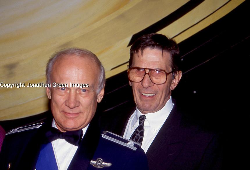Buzz Aldrin & Leonard Nimoy 1992 by <br /> Jonathan Green
