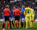 29.11.18 Rangers v Villarreal: Daniel Candeias appeals his innocence to the ref