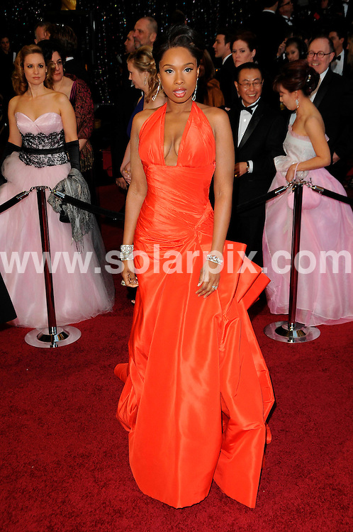 **ALL ROUND PICTURES FROM SOLARPIX.COM**                                             **SYNDICATION RIGHTS FOR UK, AUSTRALIA, DENMARK, PORTUGAL, S. AFRICA, SPAIN & DUBAI (U.A.E) & ASIA (EXCLUDING JAPAN) ONLY**                                                                                  Arrivals for the 83rd Annual Academy Awards, Kodak Theatre, Hollywood, CA, USA.                                                                        .This pic:   Jennifer Hudson.JOB REF:    12901    PHZ/Evans       DATE: 27.02.11                                                           **MUST CREDIT SOLARPIX.COM OR DOUBLE FEE WILL BE CHARGED**                                                                      **MUST AGREE FEE BEFORE ONLINE USAGE**                               **CALL US ON: +34 952 811 768 or LOW RATE FROM UK 0844 617 7637**