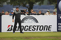 Eddie Pepperell (ENG) on the 13th tee during Round 1of the Sky Sports British Masters at Walton Heath Golf Club in Tadworth, Surrey, England on Thursday 11th Oct 2018.<br /> Picture:  Thos Caffrey | Golffile<br /> <br /> All photo usage must carry mandatory copyright credit (© Golffile | Thos Caffrey)