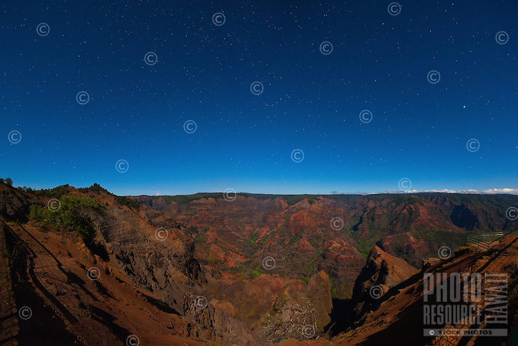 Starry sky over Waimea Canyon