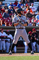 Quad Cities River Bandits infielder Spencer Johnson (17) at the plate during a Midwest League game against the Wisconsin Timber Rattlers on April 8, 2017 at Fox Cities Stadium in Appleton, Wisconsin.  Wisconsin defeated Quad Cities 3-2. (Brad Krause/Four Seam Images)