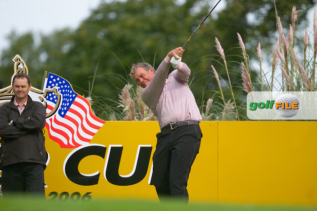 Ryder Cup. Darren Clarke during practise on the 16th tee of the Palmer Course at the K Club..Photo: Eoin Clarke/ Newsfile..